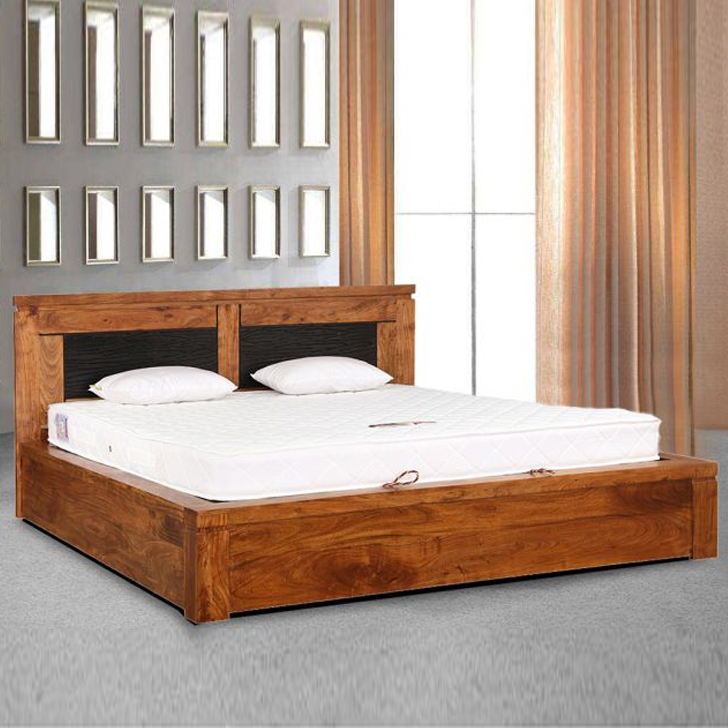 Leopold Solid Wood Hydraulic Storage King Size Bed in Brown Colour by HomeTown