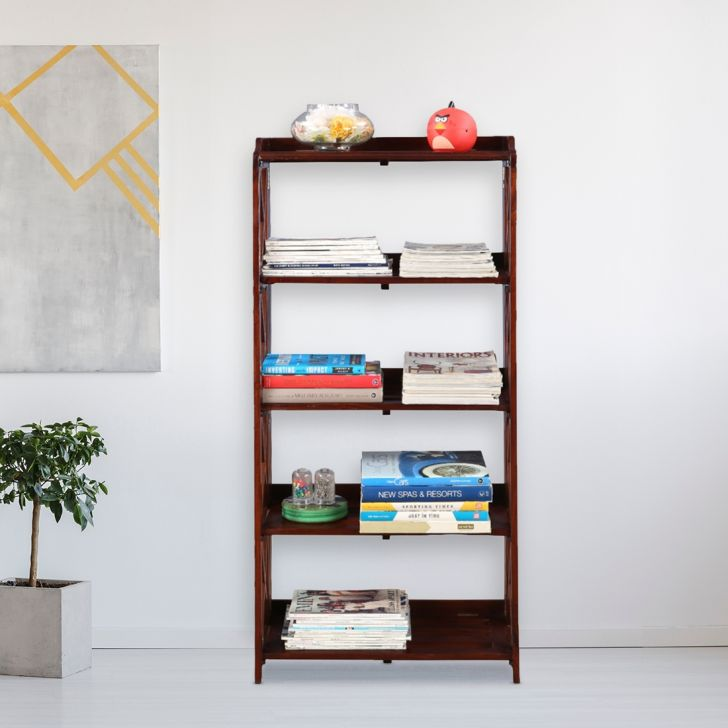 Travis Sheesham Wood(Rosewood) Book Shelf in Brown Colour by HomeTown