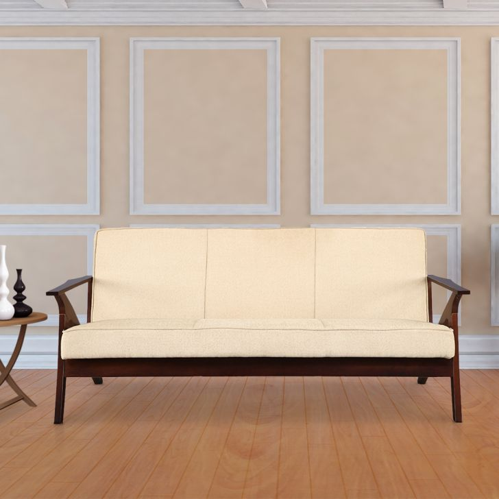 Patrick Solid Wood Three Seater Sofa With Cushion in Beige Colour by HomeTown