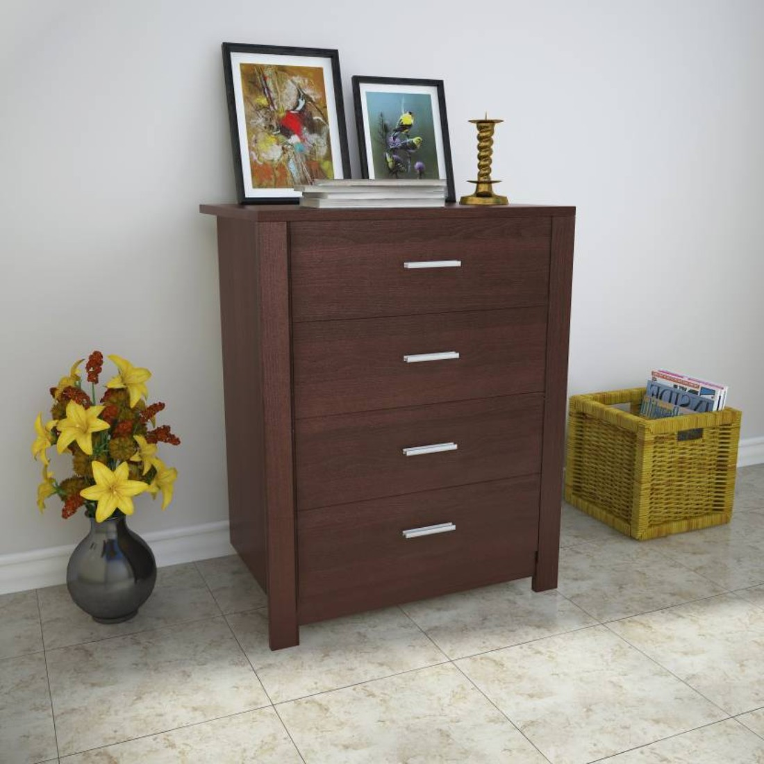 Renley Engineered Wood Chest of Drawers in Beech Chocolate Colour by HomeTown
