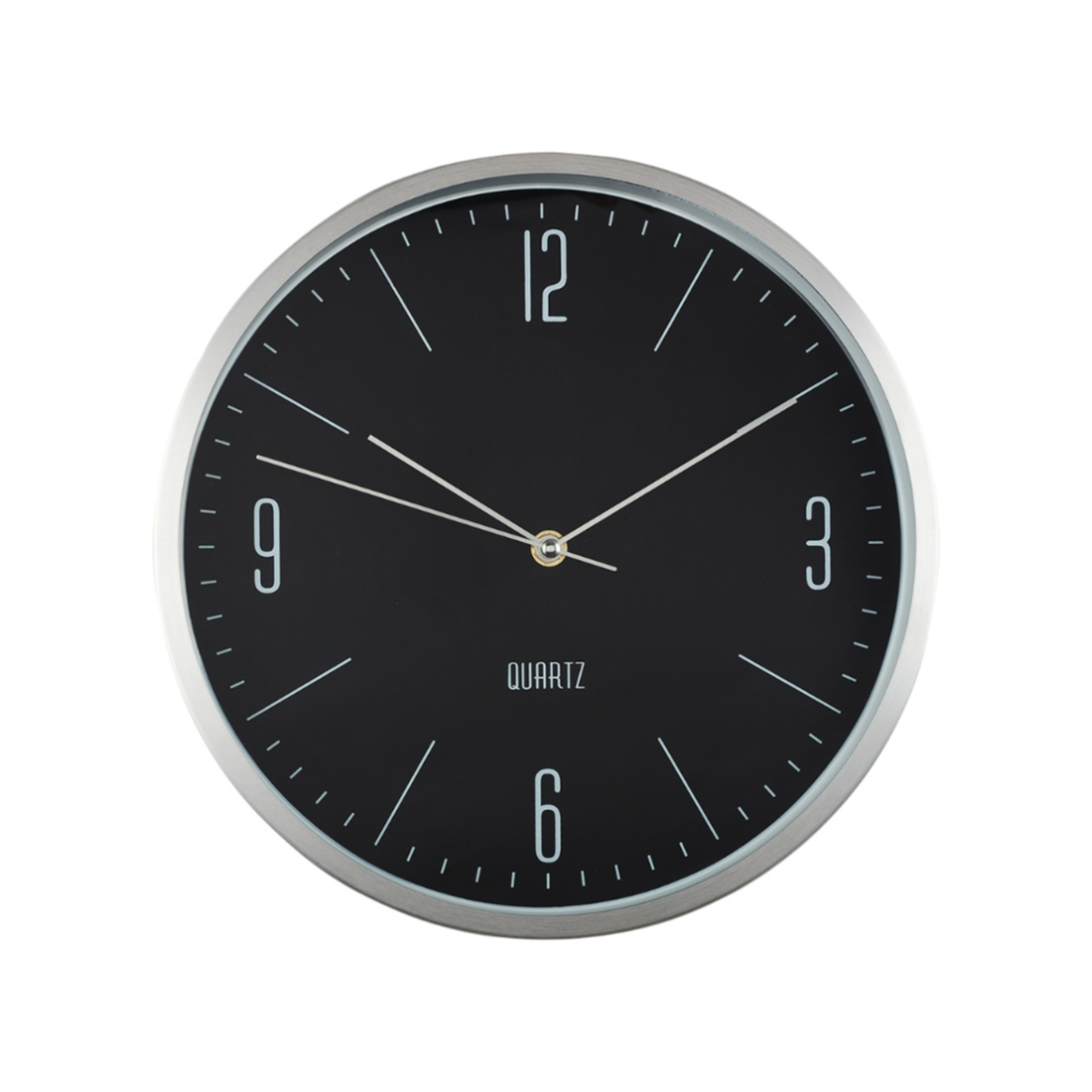 Aeon Metallic Wall Clock Plastic Modern Clocks in Black&Silver Colour by Living Essence