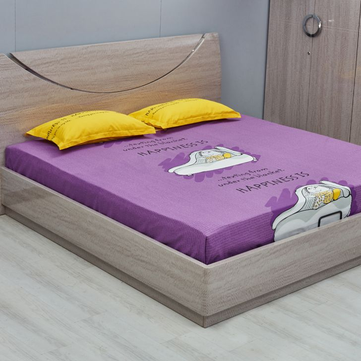 Flow Happiness Double Purple Cotton Double Bed Sheets in Multicolour Colour by Living Essence