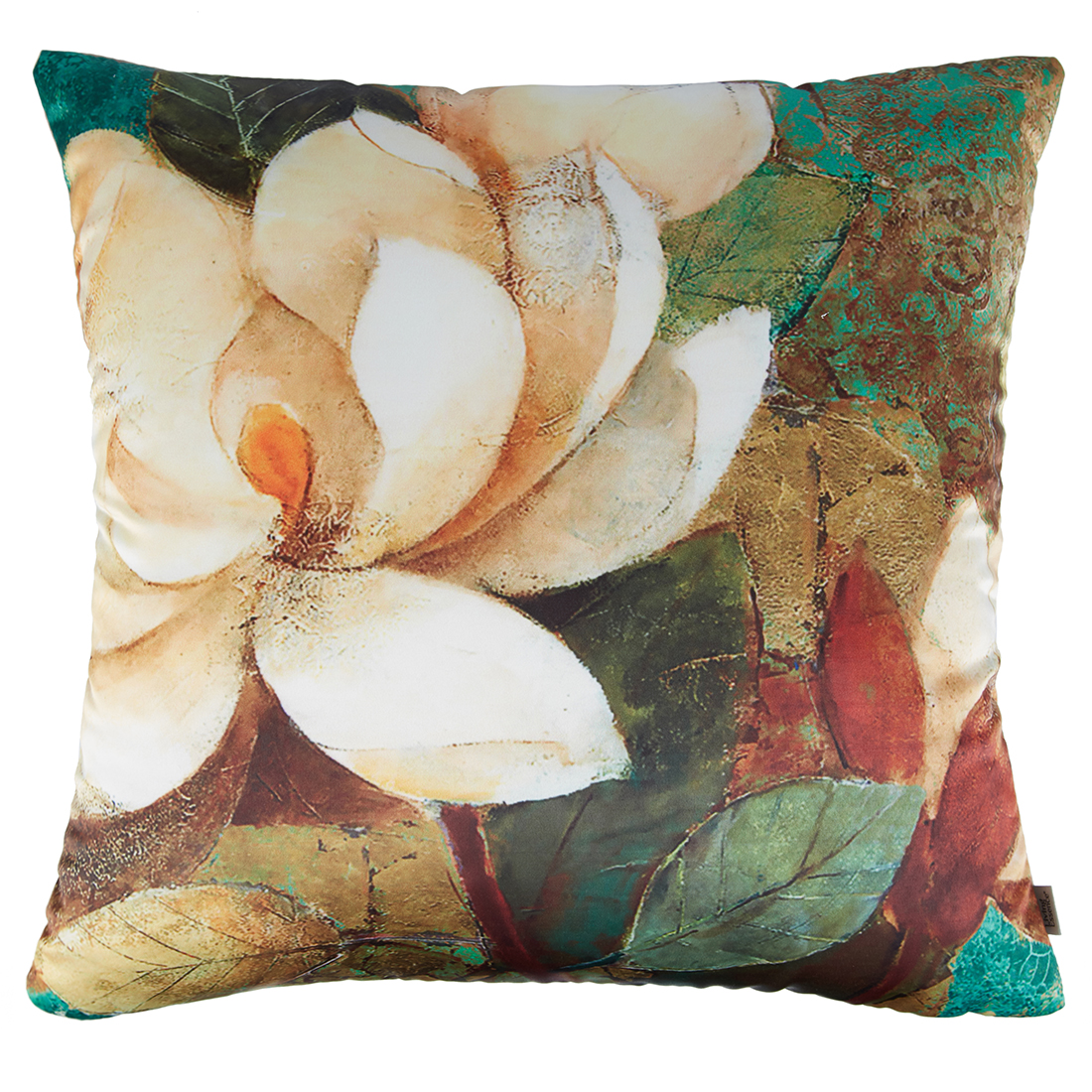 Digital Cushion Cover Neutral Lotus Cushion Covers in Poly Satin Colour by Living Essence