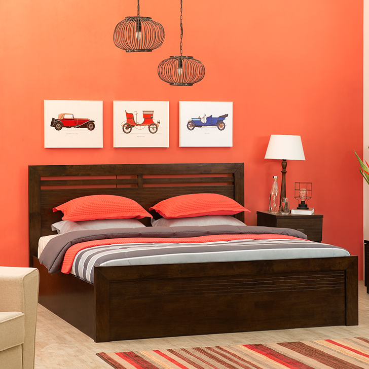 Stanford Solid Wood Hydraulic Storage King Size Bed in Brown Colour by HomeTown
