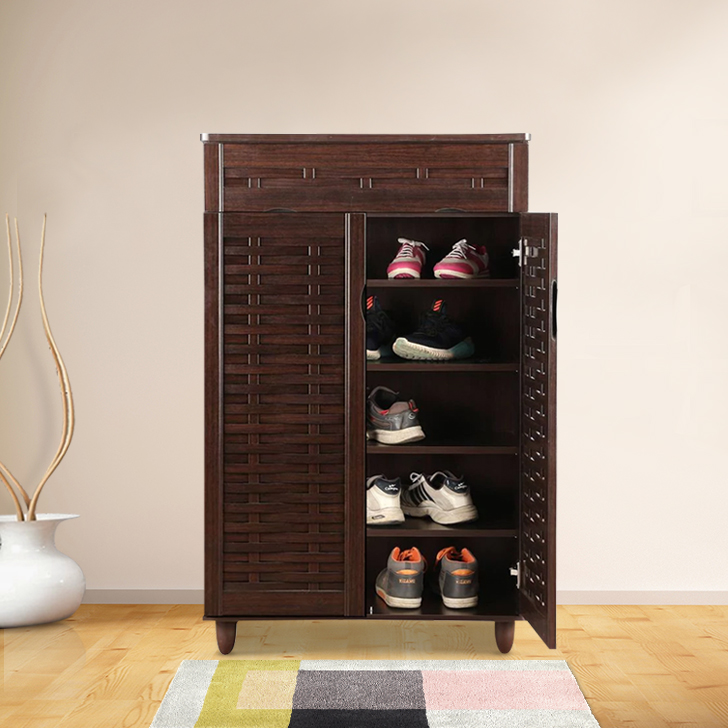 Alton Engineered Wood Shoe Rack in Wenge Colour by HomeTown