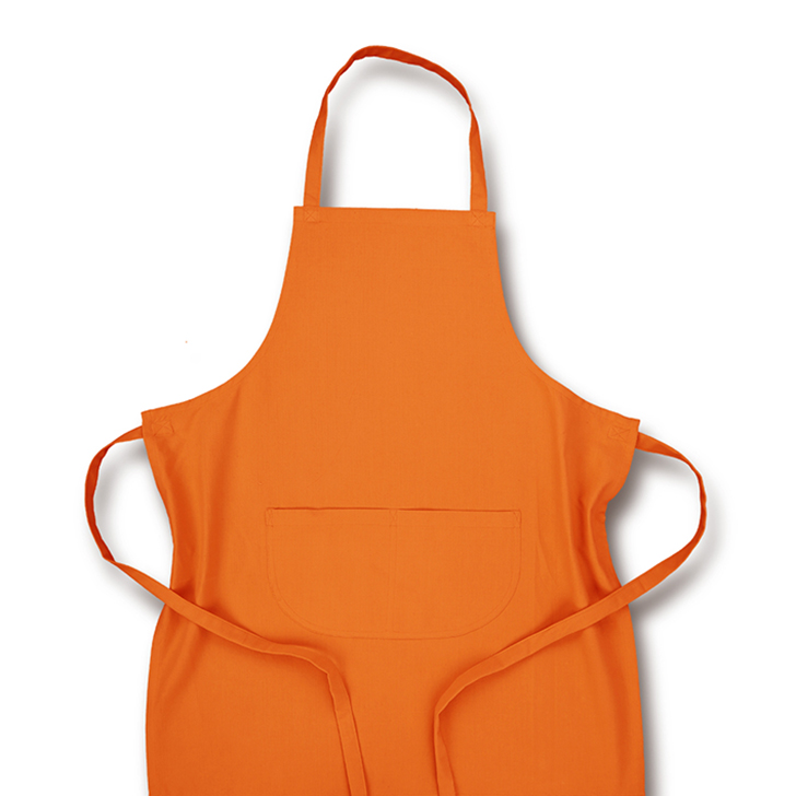 Solid Cotton Apron Orange Cotton Apron in Orange Colour by Living Essence