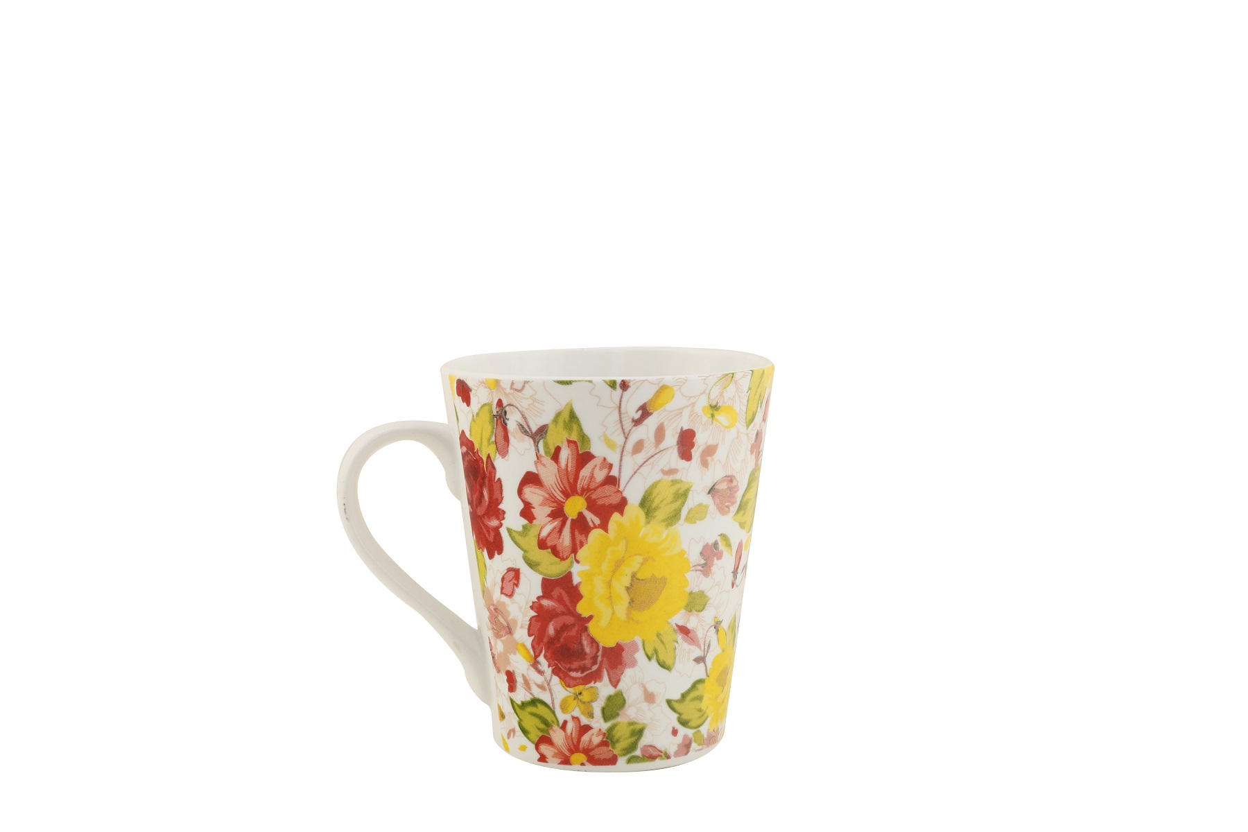 Tropical Garden Sing Mug Ceramic Coffee Mugs in Pink & Yellow Colour by HomeTown