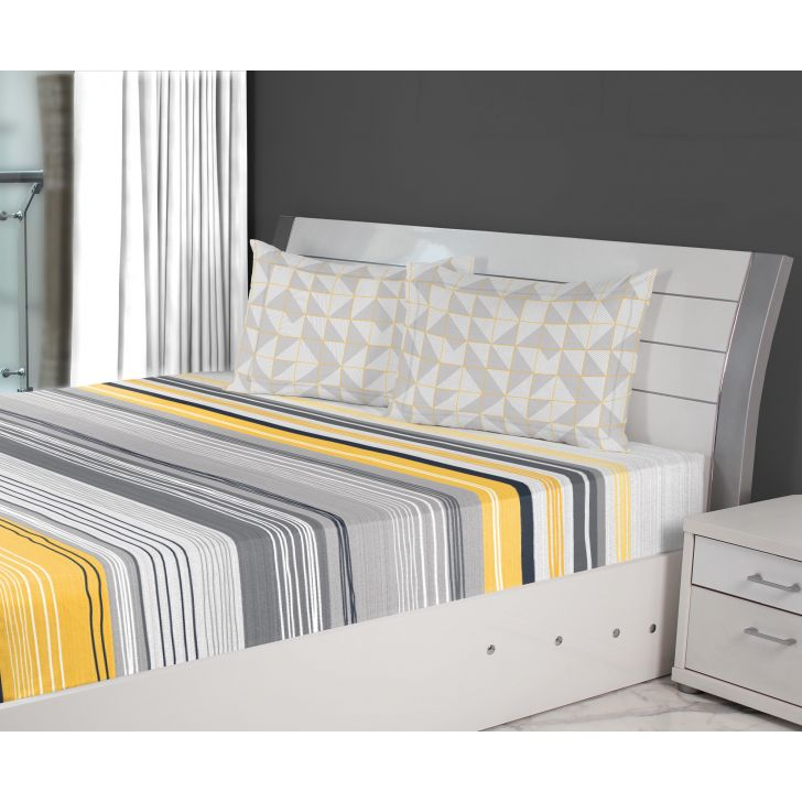 Emilia Cotton Double Bedsheets in Grey Yellow Colour by Living Essence