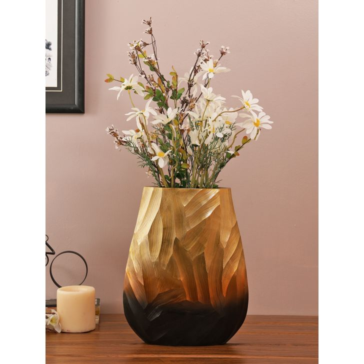 Jashn Wavy Metal Vases in Bronze Colour by Living Essence