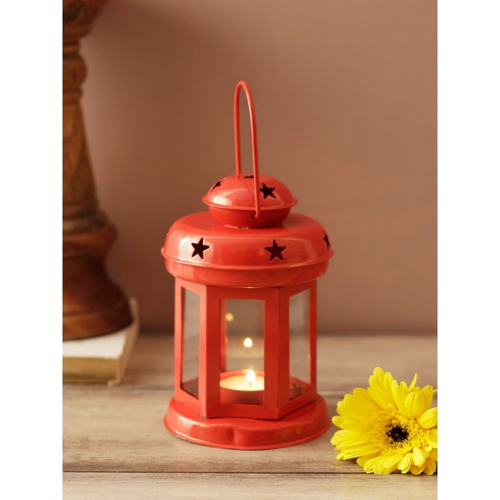 Allure Metal Candle Holders in Red Colour by Living Essence