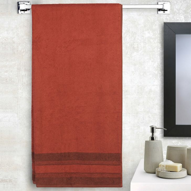 Spaces Bamboo Charcoal Solid 550 Gsm Cotton Brick Standard Bath Towel