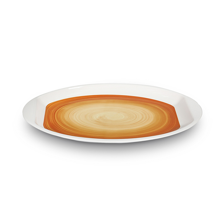 Oval Serving Platter Swirl Mustard Platters in Mustard Colour by Living Essence
