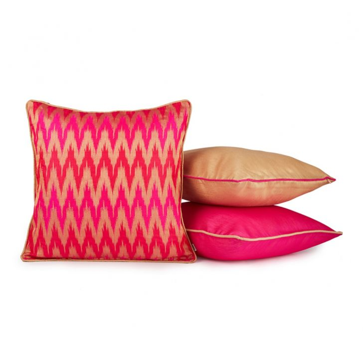 Chevron Set Of 3 Cushion Covers Fuchsia Polyester Cushion Cover Sets in Fuchsia Colour by Living Essence