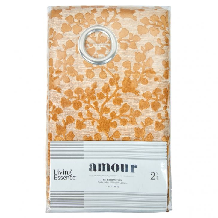 Amour Jacquard Polyester Window Curtains in Mustard Colour by Living Essence