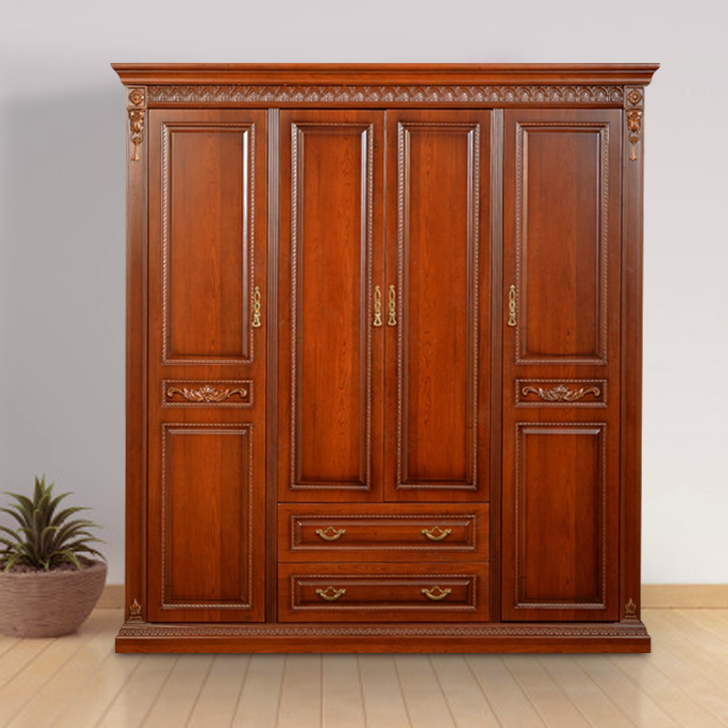 Morrison Engineered Wood Four Door Wardrobe in Red Cherry Colour by HomeTown