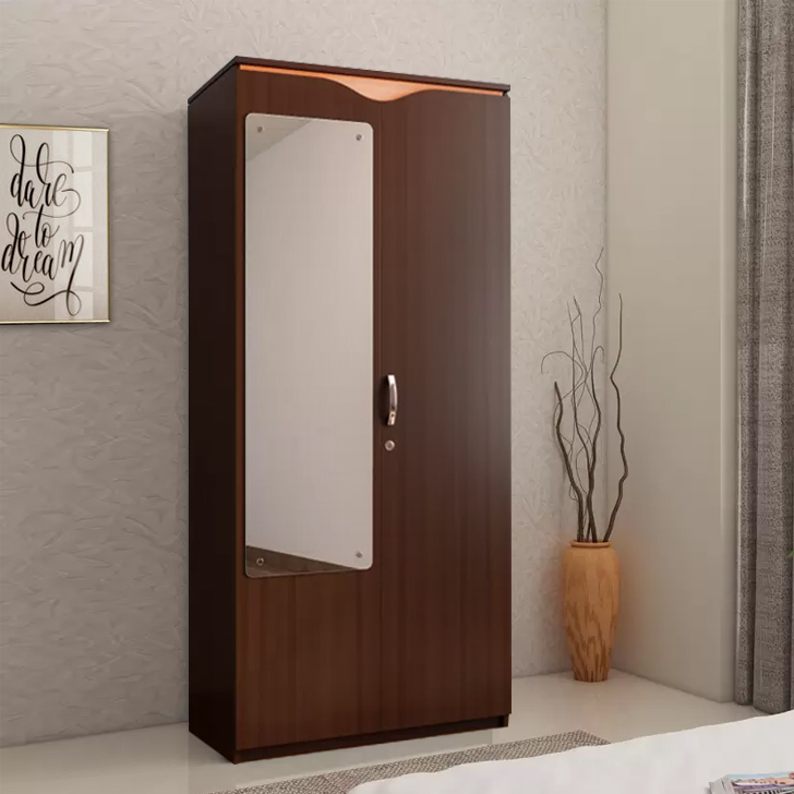 Swirl Engineered Wood Two Door Wardrobe in Wenge Color by HomeTown