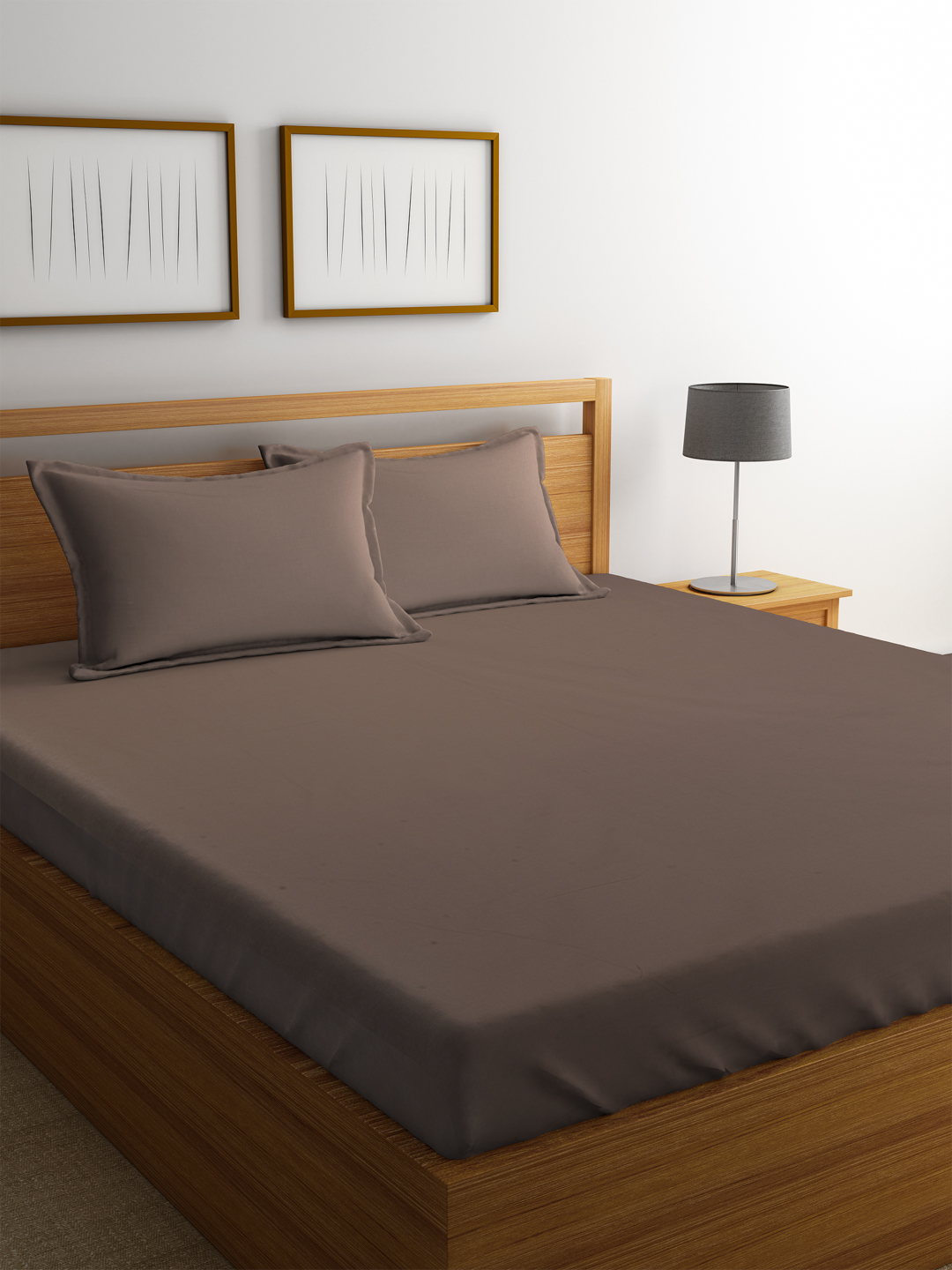 Portico Percale Cotton Double Bed Sheets in Oatmeal Colour by Portico