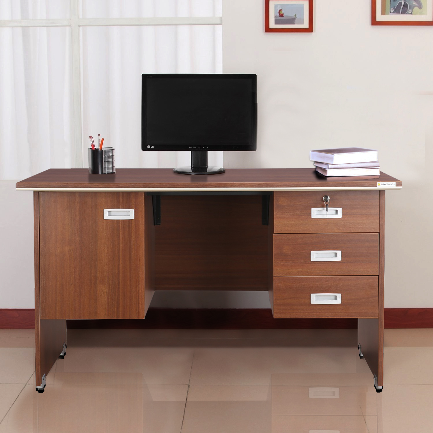 Integra Engineered Wood Office Table in Walnut Regato Colour by HomeTown