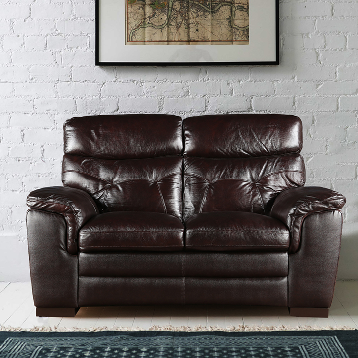 Bradley Half Leather Two Seater sofa in Dark Brown Colour by HomeTown