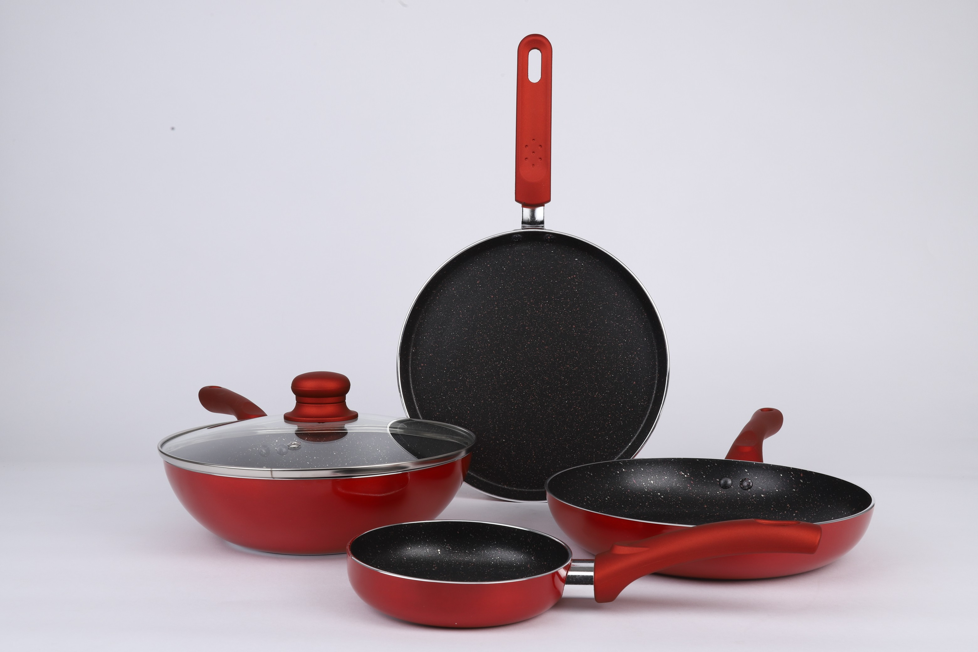 Vikas Khanna 5 pc Esprit cookware set Red Stainless steel cookware sets in Red Colour by Bergner
