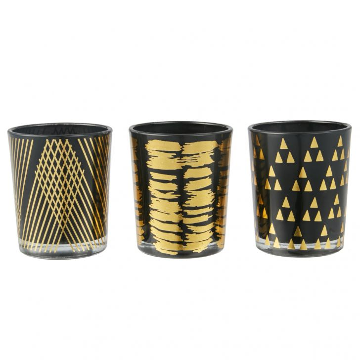 Meira Set Of Three Tea-Light Accent Lighting in Black Colour by Living Essence