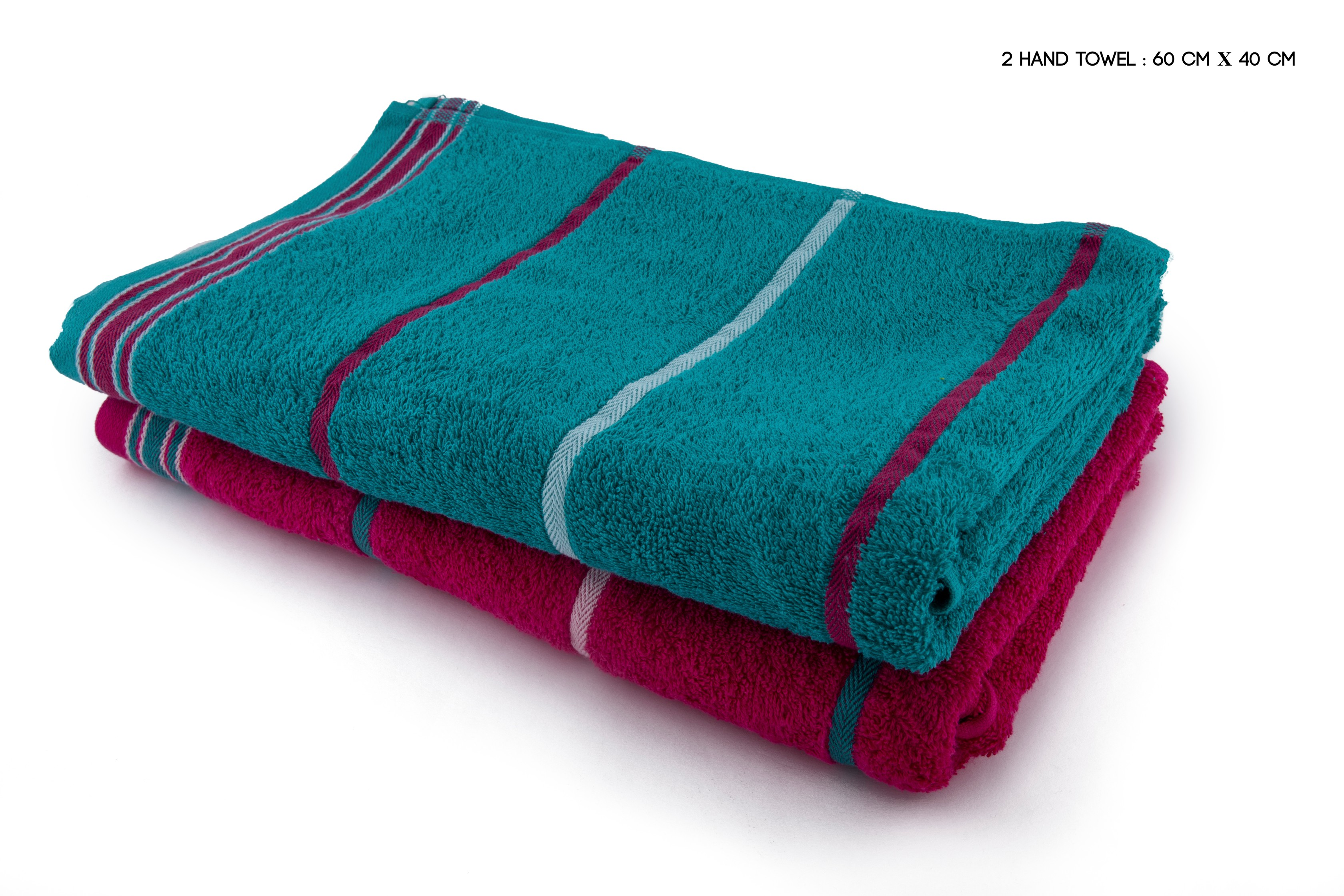 Living Essence Emilia Handtowel Set Of 2 Cotton Hand Towels in Teal & Pink Colour by HomeTown