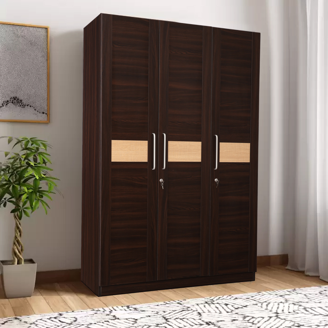 Magnolia Engineered Wood Three Door Wardrobe in Oak Colour by HomeTown