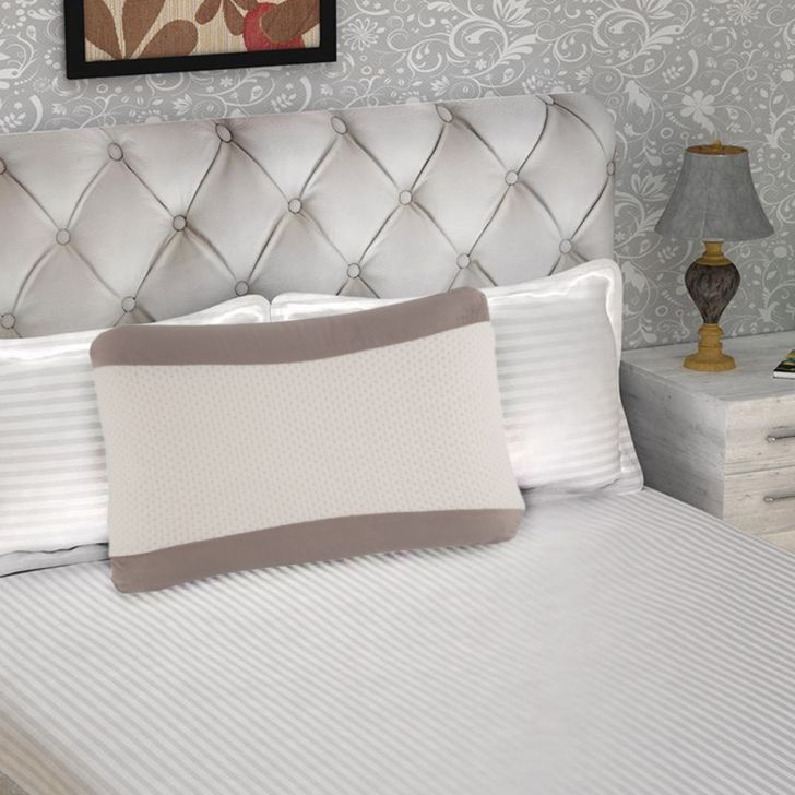 Serenity Memory Foam Mini Pillow 55X35X11 CMS in White Colour by Living Essence
