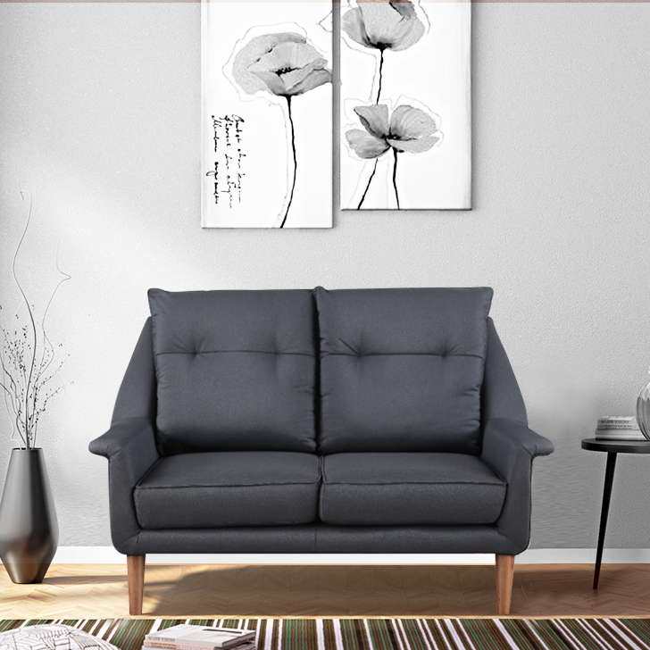 Orwell Fabric Two Seater Sofa in Grey Color by HomeTown
