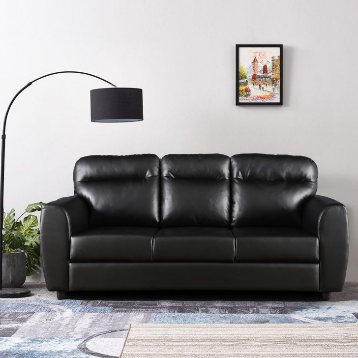 Chelsea Leatherette Three Seater Sofa in Black Colour by HomeTown