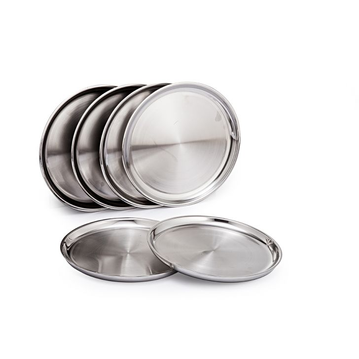 SK Set Of 6 Pcs.Double Wall Plate Half Stainless steel Plates in Mirror & Matt Colour by Sanjeev Kapoor