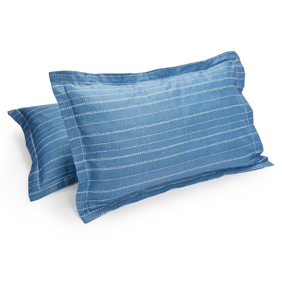 Set of 2 Pillow Cover Amour Texture Blue Cotton Pillow Covers in Cotton Colour by Living Essence