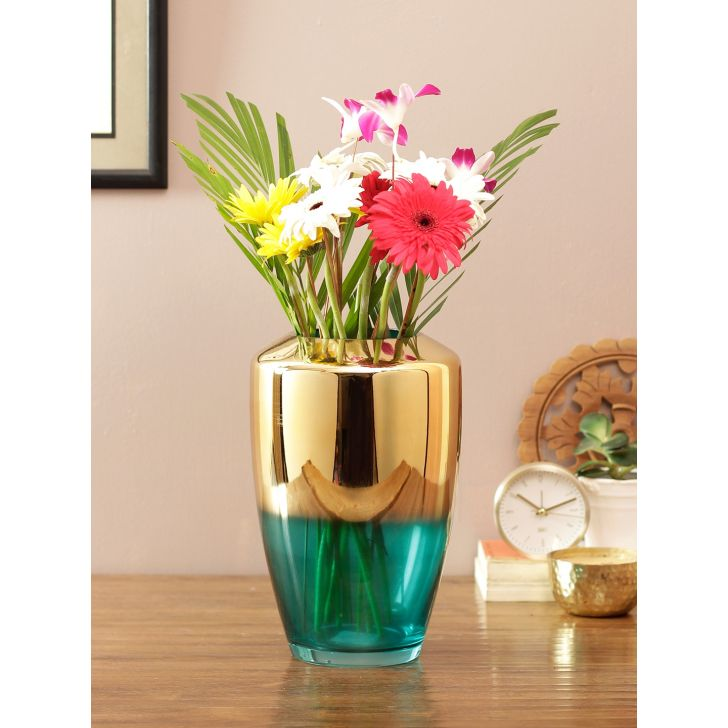 Eva 2 Tone Glass Vase Blu Gold Glass Vases in Blue Gold Colour by Living Essence