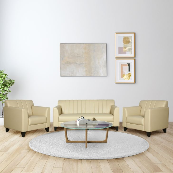 Delight Leatherette Three Seater + Single Seater + Single Seater Sofa Set in Ivory Colour