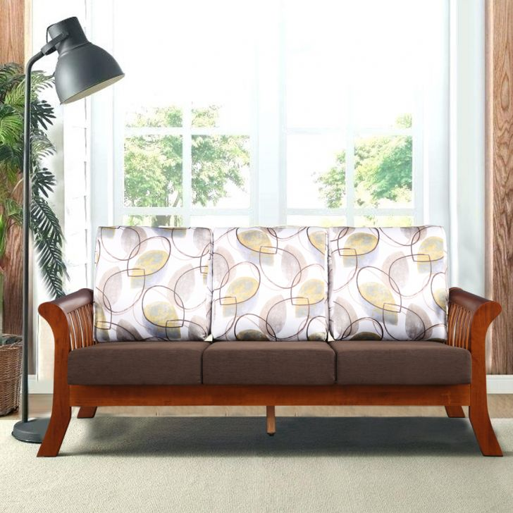 Aubrey Solid Wood Three Seater Sofa in Printed Brown Colour by HomeTown