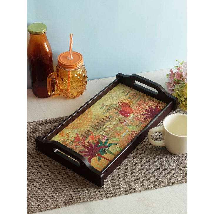 Nora Folklore Wooden Small Tray in Multi Colour by Living Essence