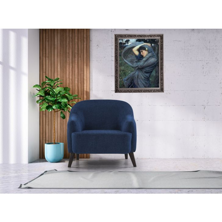 Brooke Solid Wood Single Seater Sofa in Blue Colour