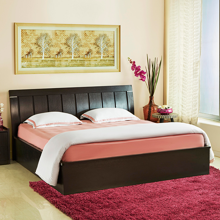 Mozart Engineered Wood Hydraulic Storage Queen Size Bed in Wenge Colour by HomeTown
