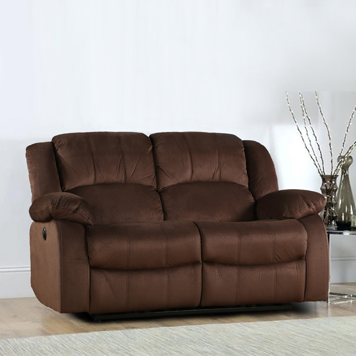 Rhea Fabric Two Seater Electric Recliner in Brown Colour by HomeTown