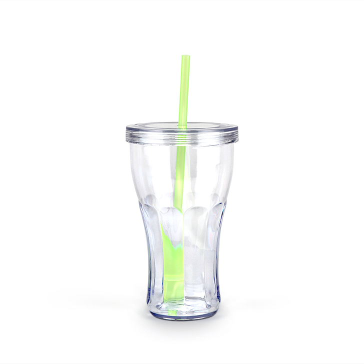 Cola 450 ml Plastic Sippers in Transparent & Green Colour by Living Essence