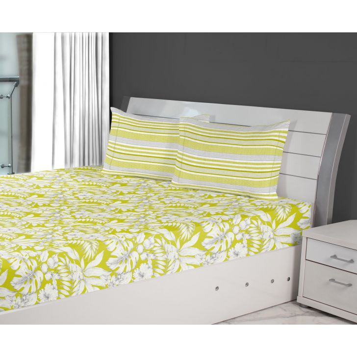Emilia Cotton Double Bedsheets in Lime Colour by Living Essence