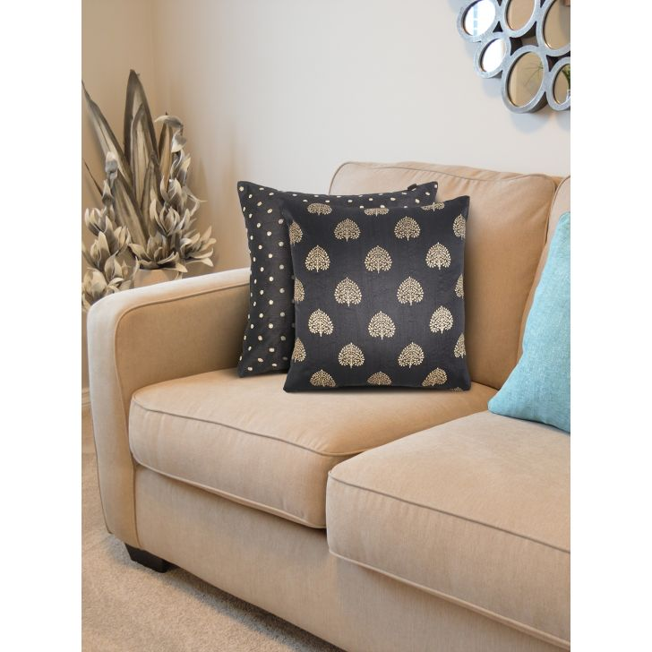Fiesta Set Of 2  Cushion Cover 16X16 CM in Black Colour by Living Essence