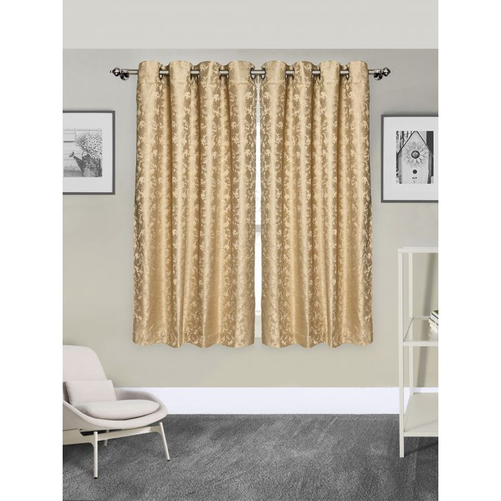 Jacquard Long Door Curtain In Beige Color By Rosara Home