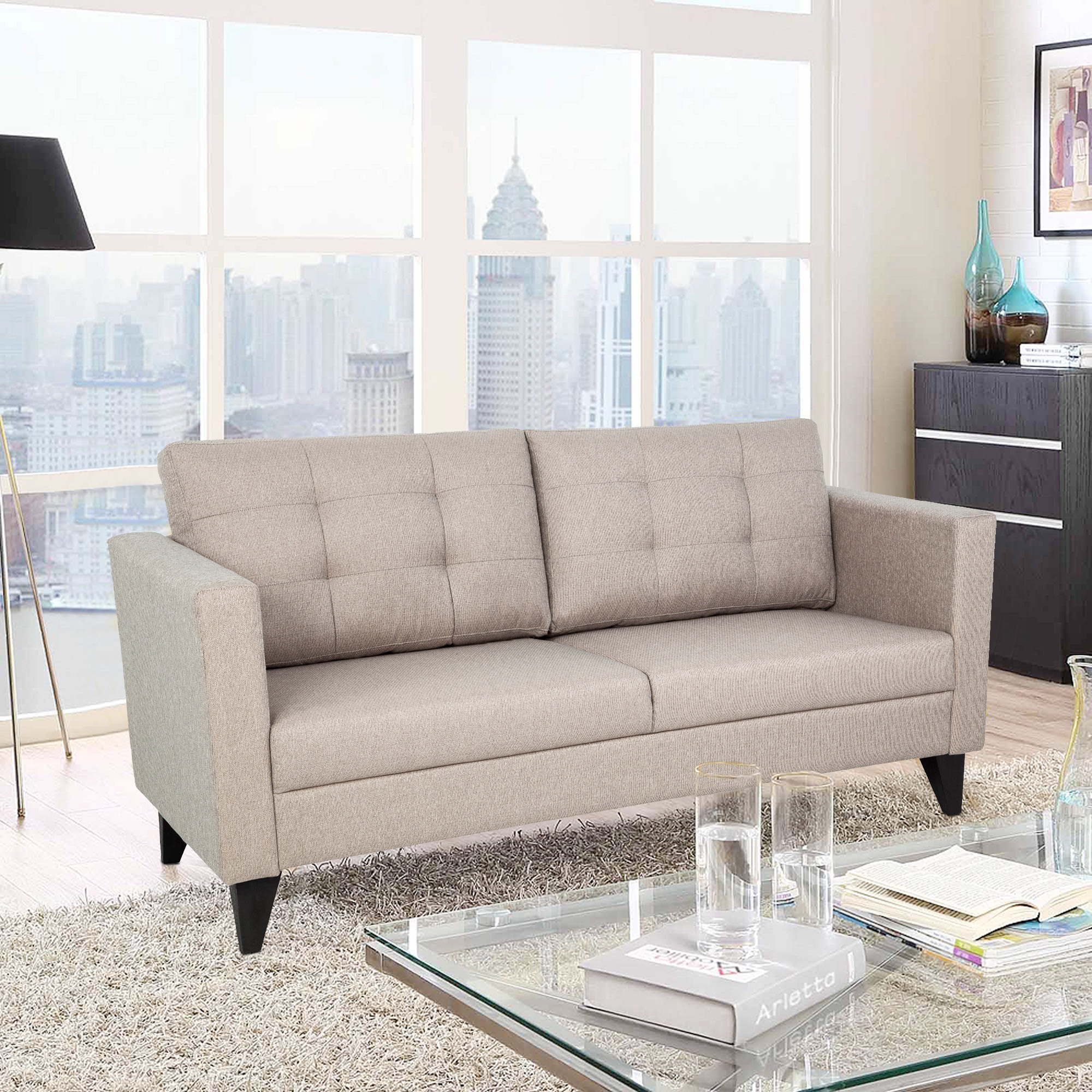 Castellar Fabric Three Seater sofa in Camel Colour by HomeTown