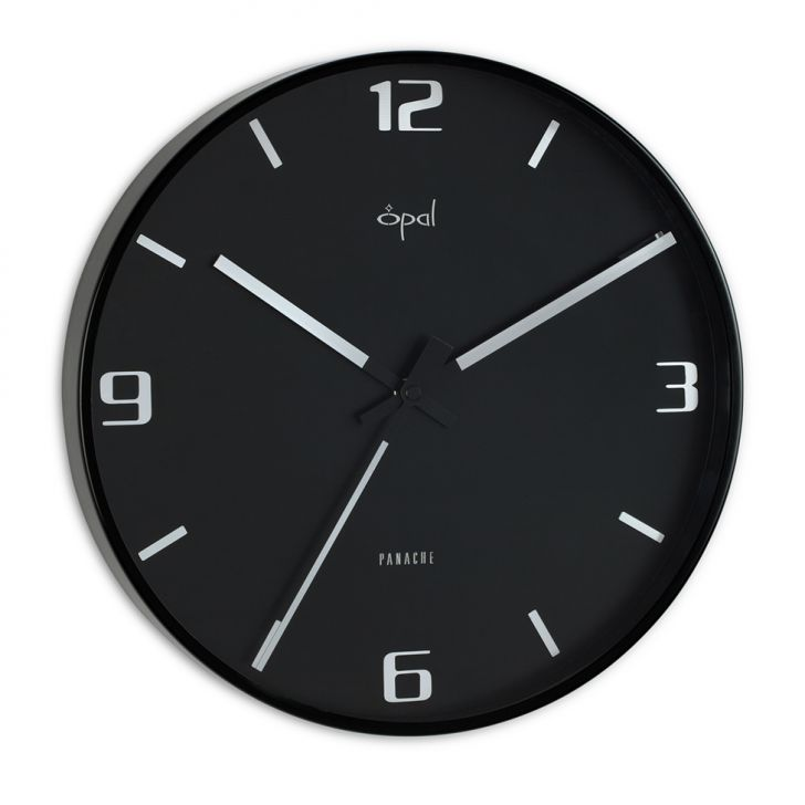 Opal Black Wall Clock With Metal Frame And Designer Hands
