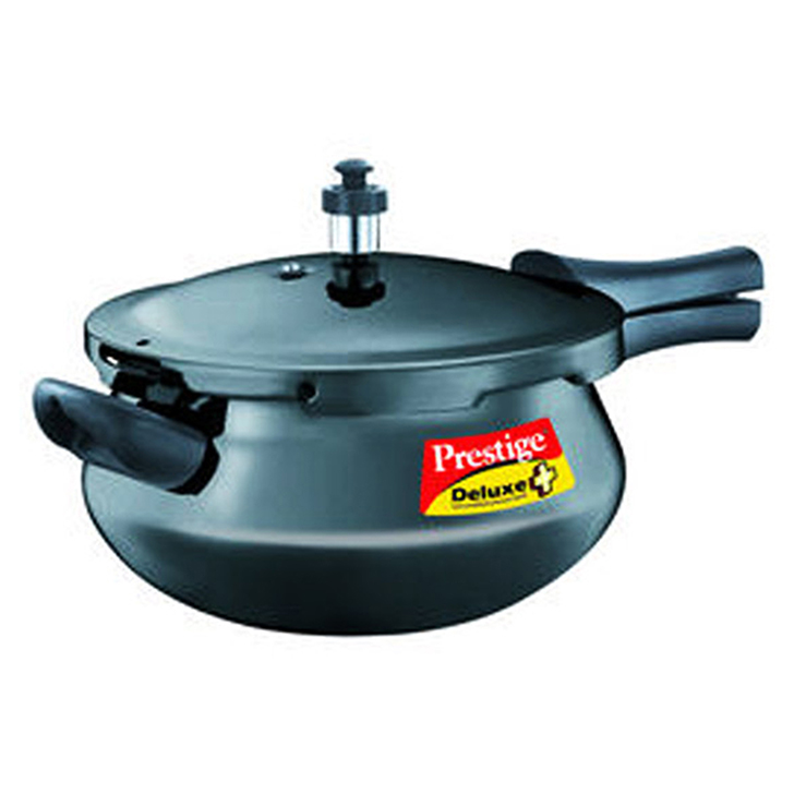Prestige Deluxe Plus 4.8 Ltr Hard Anodized Junior Handi Hard Anodized Aluminium Cookers in Black Colour by Prestige