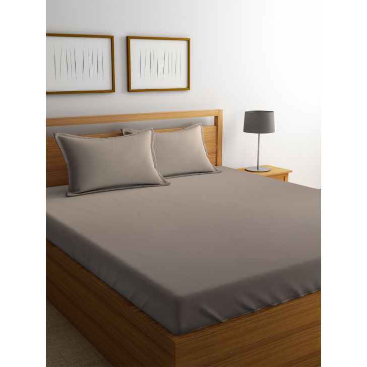 Portico Supercale Cotton Double Bed Sheets in Brown Colour by Portico