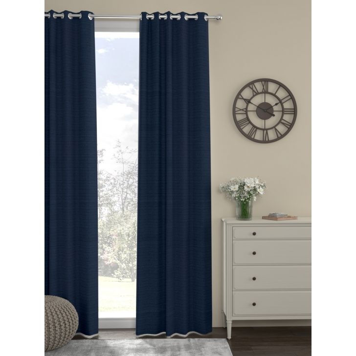 Rosara Home Polyester Curtain in Navy Blue Colour