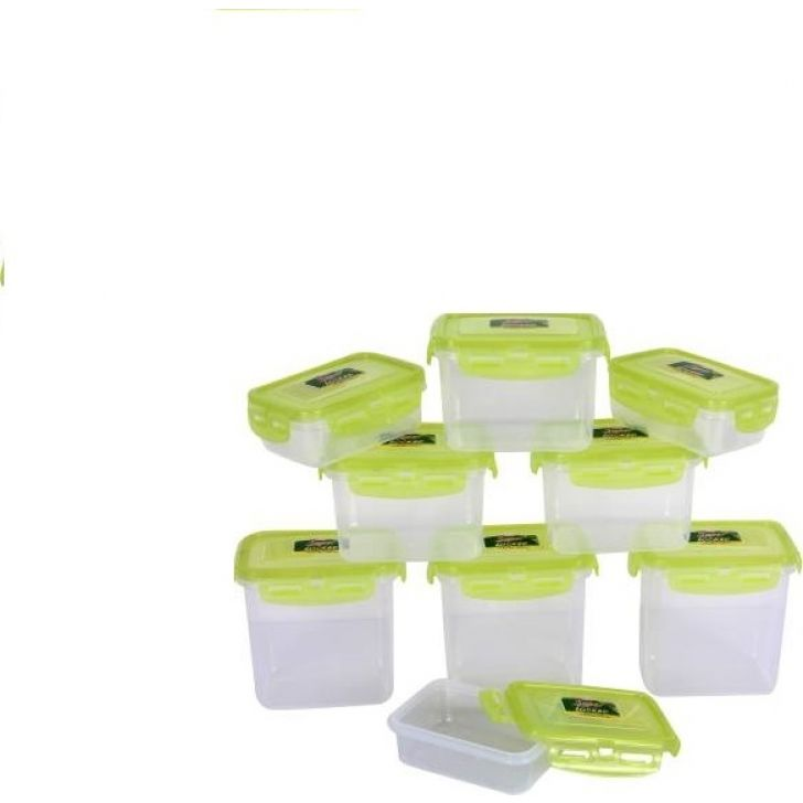 300 ml & 600 ml - Set of 9 Plastic Containers in Green Colour by Polyset