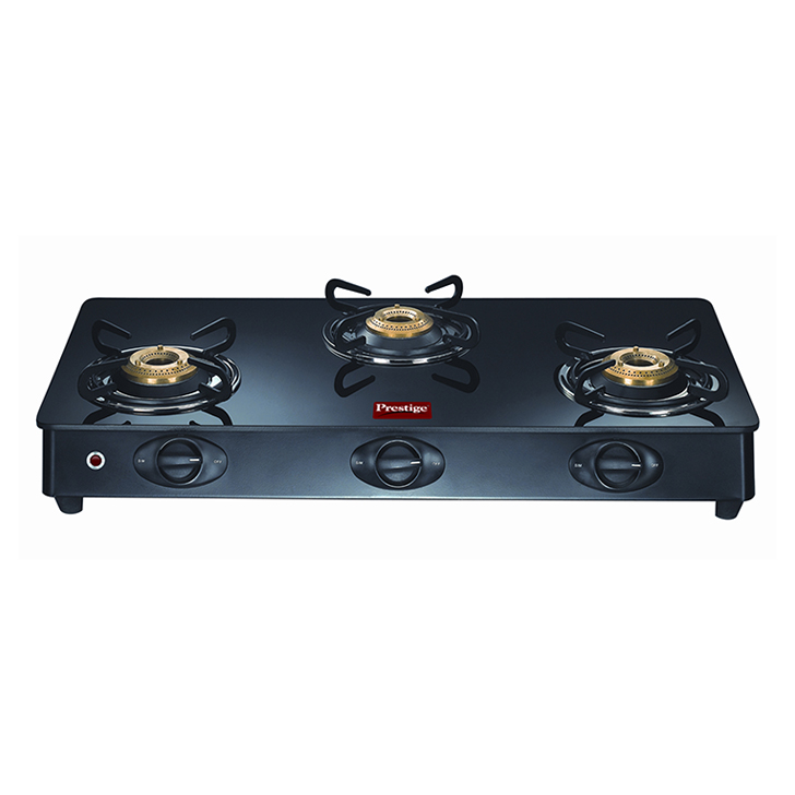 Prestige Royale 3 Burners Gas Stove Stainless steel Cooktops in Black Colour by Prestige